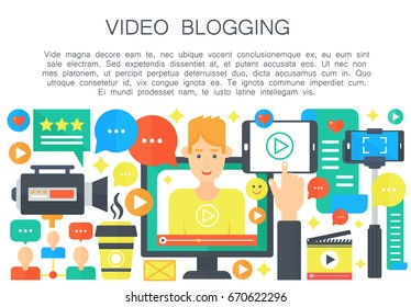 Video blogger cartoon flat concept. Computer screen with male man blogger. Personal blogging channel broadcasting. Vector web template illustration.