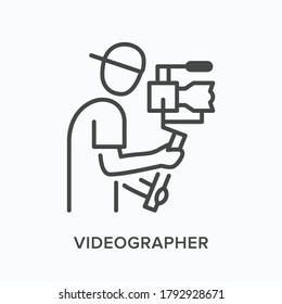 Video blogger flat line icon. Vector outline illustration of camera man, videographer holding steadicam. Photographer thin linear pictogram.
