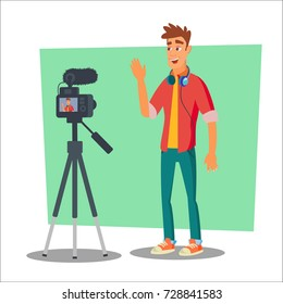 Video Blogger Vector. Lifestyle Video Clip Shooting Process. Shooting Video Process. Isolated Flat Cartoon Character Illustration