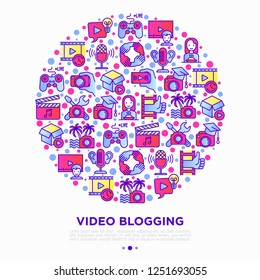 Video blogging concept in circle with thin line icons: vlog, ASMR, mukbang, unboxing, DIY, stream game, review, collaboration, podcast, tipa and tricks. Vector illustration, print media template.