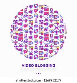 Video blogging concept in circle with thin line icons: vlog, ASMR, mukbang, unboxing, DIY, stream game, review, collaboration, podcast, and tricks. Vector illustration, print media template.