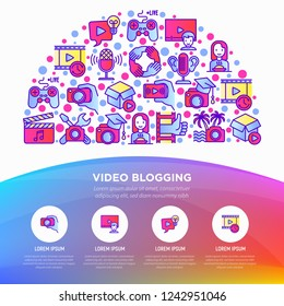 Video blogging concept in half circle with thin line icons: vlog, ASMR, mukbang, unboxing, DIY, stream game, review, collaboration, podcast, tipa and tricks. Vector illustration, web page template.