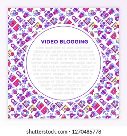 Video blogging concept with thin line icons: vlog, ASMR, mukbang, unboxing, DIY, stream game, review, collaboration, podcast, tips and tricks. Vector illustration, print media template.