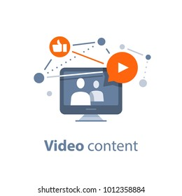 Video blogging concept, watching stream tv, viral video, internet marketing and advertising, vector illustration, flat icon