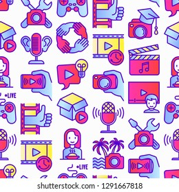 Video blogging seamless pattern with thin line icons: vlog, ASMR, mukbang, unboxing, DIY, stream game, review, collaboration, podcast, tips and tricks. Modern vector illustration.
