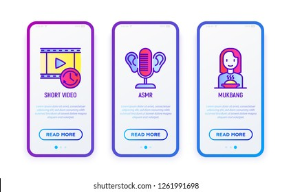 Video blogging thin line icons set: short video, ASMR, mukbang. Vector illustration for user mobile interface.