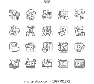 Video Blogging Well-crafted Pixel Perfect Vector Thin Line Icons 30 2x Grid for Web Graphics and Apps. Simple Minimal Pictogram