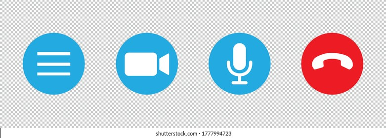 Video cal icon set for screen template for online video app on checked transparent background. Vector illustration. Eps 10 vector file.