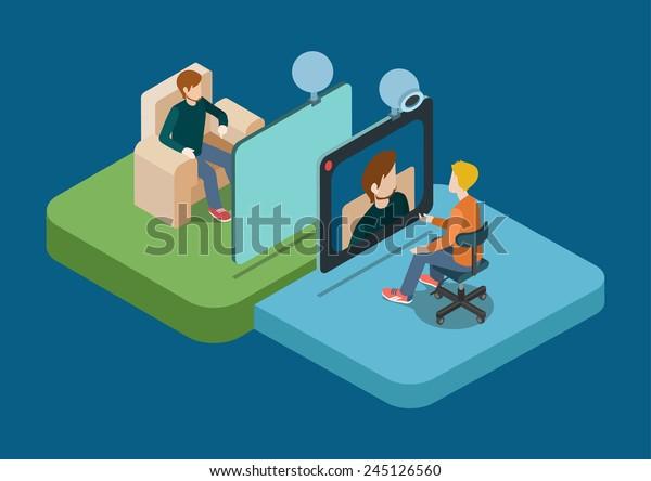 Conférence de chat vidéo à plat 3d web infographie concept vectoriel. Deux hommes parlant par webcam. Collection de personnes créatives.