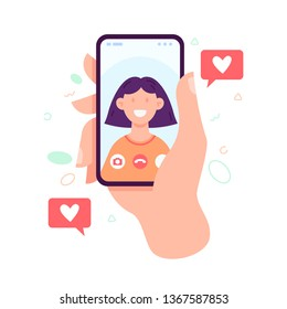 Video call concept. Video call with loved one. Male hand holding smartphone with girlfriend on screen. Finger touch screen. Vector flat cartoon illustration for web sites and banners design.