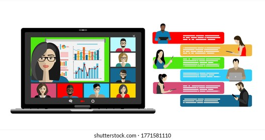 Video call conference concept. Young people making video call through virtual user interface window. Working from home. Social distancing. Remote project management. Vector isolated illustration