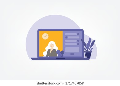 Video call conference, working from home. Colleagues talk to each other on the laptop screen, vector
