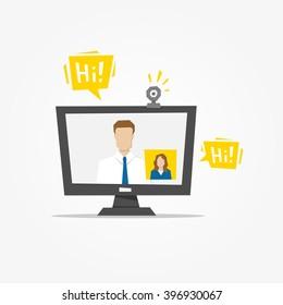 Video call desktop vector illustration. Video call app technology creative concept. Communication app graphic design.