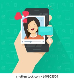 Video call with girlfriend on mobile phone vector illustration, flat cartoon smartphone video chat with lovely happy smiling girl and love talk, boyfriend calling his beloved, online distance dating