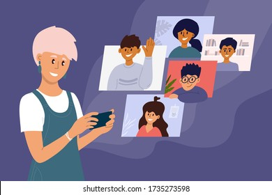 Video call of group of people. Online conference, virtual gathering together, remote meeting with colleagues. Girl talking with friends by smartphone screen. Social media community vector illustration