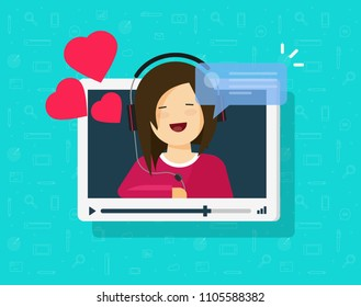Video call of happy lovely girl vector illustration, flat cartoon sweetheart person chatting online with love hearts, idea of on-line dating, internet remote or distance relationship chat talk icon