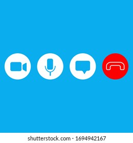 Video call icons set. Vector