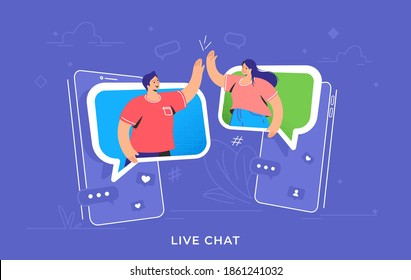 Video call or mobile chat conversation. Concept vector illustration of two friends giving a high-five on smartphones in speech bubbles. Online conference and distance communications for people