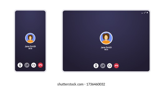Video call screen on mobile phone and web. Conference chat application ui with mic and video icon and blank place for your picture. Interface zoom mockup for home office and online learning.