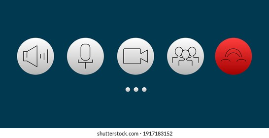 Video call screen template. Video call icons set. Vector illustration 8 eps
