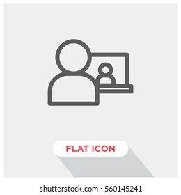Video call vector icon, online conference symbol. Modern, simple flat vector illustration for web site or mobile app