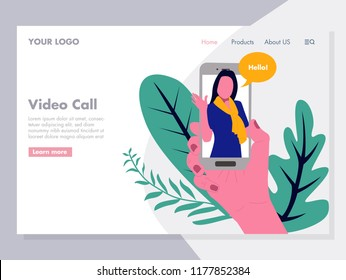 Video Call vector Illustration for landing page