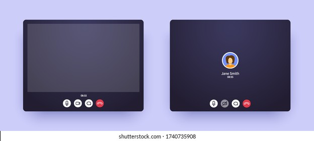 Video call zoom screen with picture and with only audio. Web interface of conference chat application with mic and video icon and blank place for your picture. Call window mockup for online business.