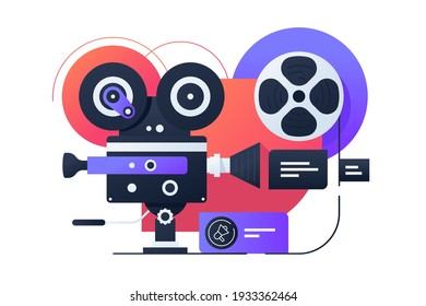 Video camcorder structure vector illustration. Video shooting process on videotape flat style design. Recording and sound overlay. Action camera. Isolated on white background