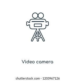 Video camera concept line icon. Linear Video camera concept outline symbol design. This simple element illustration can be used for web and mobile UI/UX.