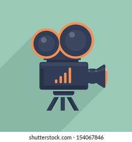 Video camera flat icon. Vector illustration