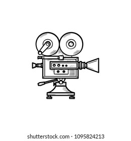 Video camera hand drawn outline doodle icon. Motion movie, film and cinema camera with reels vector sketch illustration for print, web, mobile and infographics isolated on white background.