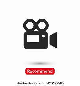 Video camera icon. Cinema camera icon. Film camera, Movie camera icon. Vector icon EPS 10