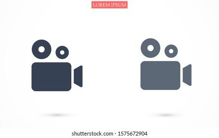 Video camera icon. Cinema  icon. Film Video camera icon., Movie Video camera icon. Journalistic camera, news media.