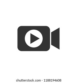 Video camera icon in flat style. Movie play vector illustration on white isolated background. Video streaming business concept.