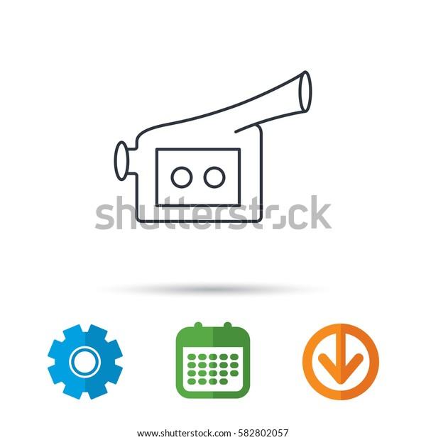 Video camera icon. Retro cinema sign. Calendar, cogwheel and download arrow signs. Colored flat web icons. Vector