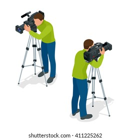Video camera operator working with his professional equipment isolated on white background. Flat 3d vector isometric illustration