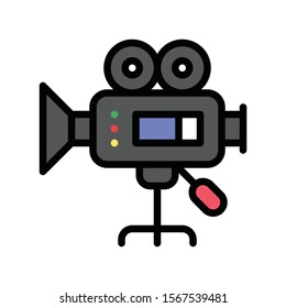 video camera recorder related art or craft vector in filled style