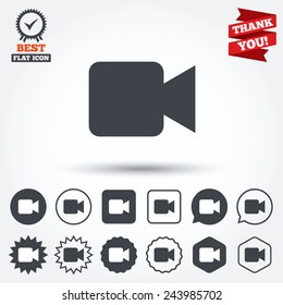 Video camera sign icon. Video content button. Circle, star, speech bubble and square buttons. Award medal with check mark. Thank you. Vector