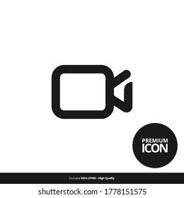 video camera sign symbol Vector line icon illustration mobile application. Simple flat modern design style. Black color.