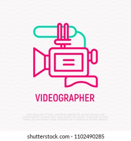 Video camera thin line icon. Modern vector illustration for videographer logo.