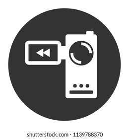 Video camera vector icon. REC icon. Vector sign. Grey background. Flat icon.