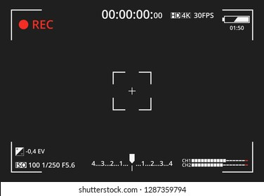 Video camera viewfinder on dark background. Focusing screen of the camera. Concept graphic element screen photo frame. Exposure settings. Template for your design. Vector illustration