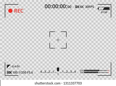 Video camera viewfinder on transparent background. Focusing screen of the camera. Concept graphic element screen photo frame. Exposure settings. Template for your design. Vector illustration