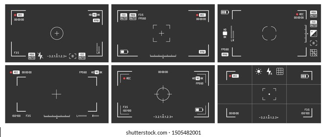 Video camera viewfinders. Recording view frame, cinema rec viewing screen and dslr cam viewfinder. Video filming screen, shooting camera recording display isolated vector set