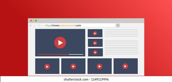 Video channel list website for vlog, vlogging or youtuber, illustration browser with channel video list.