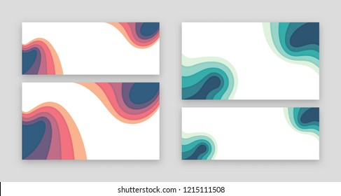 Video channel and social network cover template. Trendy design style, bright colors, papercut. Size 2560x1440 and 820x312 pixels