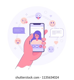 Video chat application concept. Male hand holding smart phone with young woman on display. Flat vector illustration.