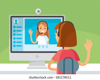 Video chat between two girls