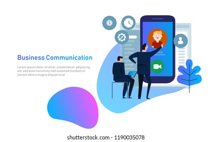 Video chat concept. Man communicates using video chat on smart phone. Online web chat. Vector illustration flat design. Video conference, meeting.