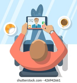 Video chat concept. Man sitting at glass table, communicates using video chat on tablet computer. Online web chat. Vector illustration flat design. Video conference, meeting.